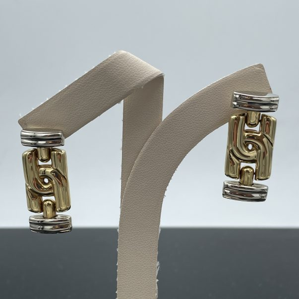 18ct Yellow and White Gold Drop Earrings