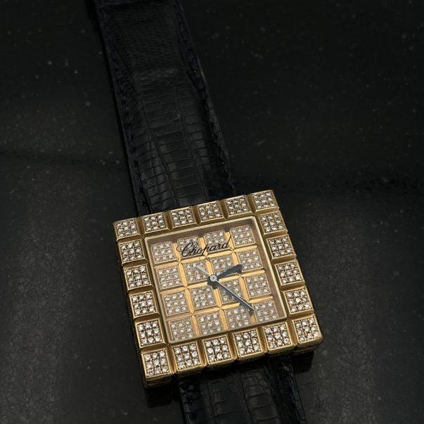 18ct Yellow Gold Chopard Diamond Set Ice Cube Watch - Watch Only