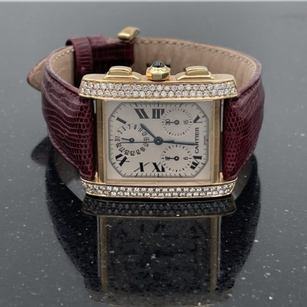 18ct Yellow Gold Diamond Set Cartier Tank France Chronograph Watch