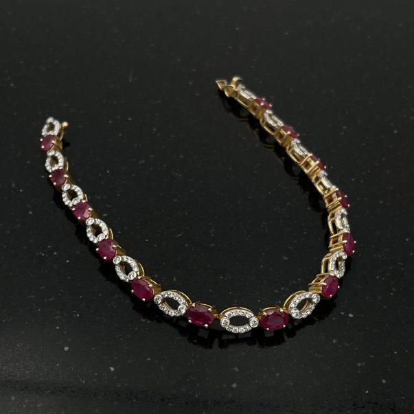 14ct Yellow Gold Ruby and Diamond Bracelet